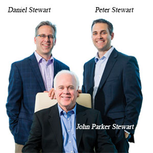 Daniel Stewart, President, Peter Stewart, Managing Director and John Parker Stewart, Founder & CEO, Stewart Leadership