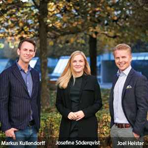 Markus Kullendorff, CEO, Josefine Söderqvist, HR Director and Joel Heister, COO